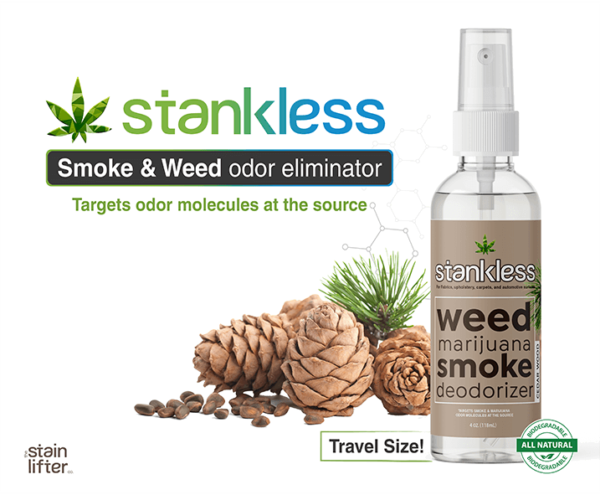 Stankless travel size bottle with background cedar wood scent
