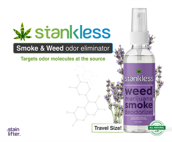 Stankless travel size bottle with background lavender scent